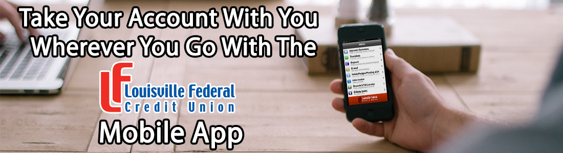 mobile app banner man holding phone – Louisville Federal